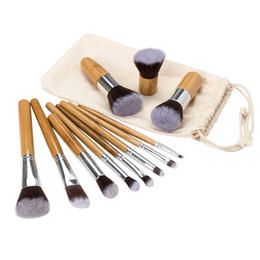 bags goat hair Canada - Cosmetics Maquiagem Profissional 11 Pcs Professional High Quality Bamboo Makeup Brush Set Goat Hair Cosmetic Brushes Kit with Bag