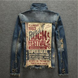 Chinese  2018 Spring Autumn Mens Jackets New Brand Slim Fit Vintage Denim Patch Designs Jeans Jacket Men Nostalgic blue Coats Plus Size manufacturers
