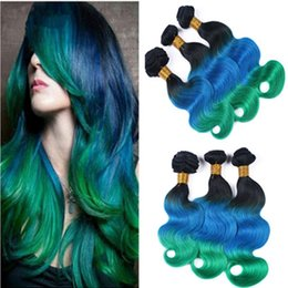 Blue Ombre Hair Bundles Canada - Brazilian Ombre Human Hair Weaves 3Pcs Body Wave #1B Blue Green Dark Root 3Tone Ombre Brazilian Human Hair Bundles Wholesale Double Wefts