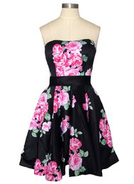 floral print bridesmaids dresses Canada - Sexy Strapless 2019 A-line Women Homecoming Dresses Black Floral Printed Short Satin Backless Bridesmaid Gowns With Ribbon Sash Prom Dresses