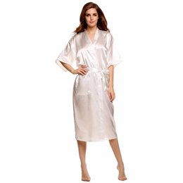 sexy hot gowns UK - Wholesale- Hot Sale White Women Silk Rayon Robe Sexy Kimono Bath Gown Nightgown Classy Nightdress Plus Size S M L XL XXL XXXL