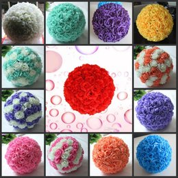 Artificial Green Hanging Balls NZ - Free shipping 12 Inch 30cm Artificial Rose balls Silk Flower Kissing Balls Hanging rose Balls Christmas Ornaments Wedding Party Decorations
