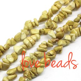 8mm Cube Beads Canada - 5-8mm Light Yellow Natural Turquoise Gravel Loose Beads Freeform Material Stone Strand 80CM DIY Bracelets (F00355) wholesale