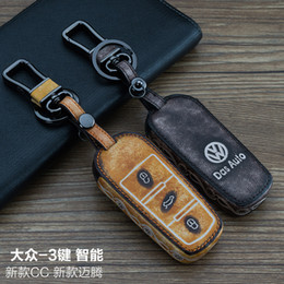vw keychain leather NZ - For Volkswagen VW CC  MAGOTAN 3 Buttons Smart High Quality 100% Genuine leather Graffiti Remote Control Car Keychain key cover Auto Accessor