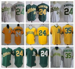 a7733ac12 ... 2017 Throwback Mens Oakland Athletics 24 Ricky Henderson Shirts 35 Henderson  Cool Base Baseball Jersey Stitched ...