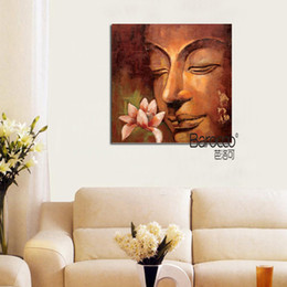 buddha oil canvas UK - Classical Style Buddha Hand Painted Figures Oil Painting on Canvas Modern Wall Art Decoration Home Living Room Bedroom