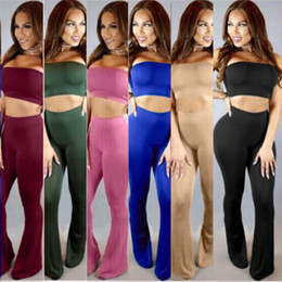 Chinese  High Quality New Sexy Women Jumpsuit Two Pieces Costume Many Colors Wrapped Chest Short Top+Long Bell Bottom Pants Fashion Clubwear S-XL manufacturers