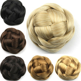 braided buns black hair Canada - Wholesale-6 Colors Women Braid Buns Hairpieces Brown  Blond Black Hair Chignon Donut Roller Bun Perucas