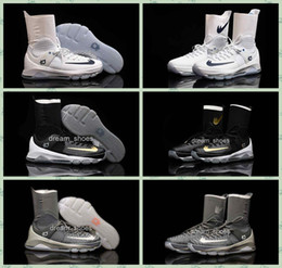 sale retailer cf981 47f6c 2016 KD 8 Elite White Black Gold Wolf Grey Mens Basketball Shoes Sneakers  High Top Kevin
