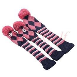 online shopping 1 one Set NEW Pom Pom Head Covers Knit Sock Golf Club Cover Headcovers