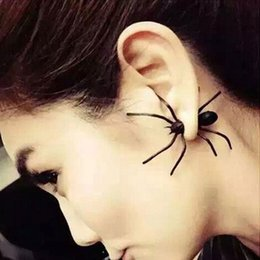 Earrings For Ears Canada - Black Spider Funny Ear Stud Earrings Jewelry Fashion Charm Women Punk Earrings Halloween Spider Shape Stud Earrings For Women