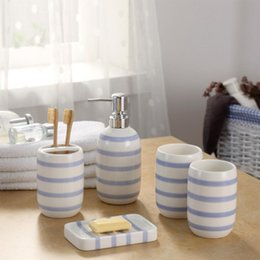 Europe Ceramic Toothbrush Holder Dispenser Soap Dish Bottle Blue White  Striped Creative Couple Bathroom Accessories Sets