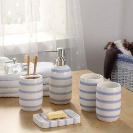 europe ceramic toothbrush holder dispenser soap dish bottle blue white striped creative couple bathroom accessories sets