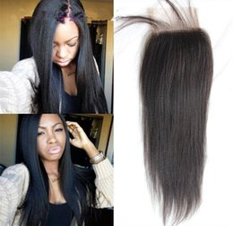 striaght hair UK - Yaki striaght lace closure 3.5x4 in stock free parting 3 part Brazilian hair lace closure