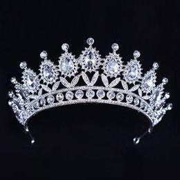 $enCountryForm.capitalKeyWord Australia - Luxury Silver Crystals Wedding Crowns Beaded Bridal Tiaras Rhinestone Head Pieces Headband Cheap Hair Accessories Pageant Crown