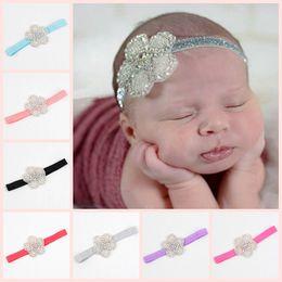 New Baby Rhinestone Flower Headbands Girls Hair Accessories Childrens Infant Elastic Bands Princess Headwear Party Wedding Headband