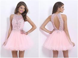 $enCountryForm.capitalKeyWord Canada - 2016 new high collar Prom Dresses luxury bright crystal beaded mini graduation Prom skirt sexy backless beauty Evening Gown plus size