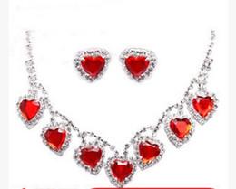 $enCountryForm.capitalKeyWord Canada - wonderful red diamond stone hearts bride wedding jewelry set necklace earings