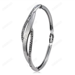 Brand Mosaic Canada - Brand Cason New Fashion women jewelry Mosaic type double hollow Bracelets Bangles silver Plated Silver colour drop shipping BGJ-0005