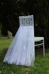 cheap white wedding chair covers UK - 2016 Lace Tulle Wedding Chair Sashes Vintage Romantic White Chair Covers Floral Wedding Supplies Cheap Wedding Accessories