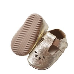 f7f43b81a57b 2017 New Designs Genuine Leather Girls Boys handmade Toddler hard rubber  sole t-strap moccs toddler baby moccasins shoes sandals wholesale