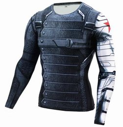 T-shirt À Long Terme Pas Cher-2016 gros-3D Winter Soldier Avengers 3 Compression Shirt Men manches longues Summer Fitness Crossfit T-shirt Homme Gym Vêtements Tight Tops