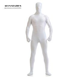 White Catsuit Halloween Pas Cher-Gros-Ainclu 2016 Blanc Lycra Spandex Zentai costume pour hommes Green Giant Halloween Jumpsuit Romper