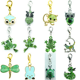 mix sliding charms Canada - Promotion! DIY Mix Sale Fashion Green Crystal Frog Owl Dangle Floating Animal Pendant Lobster Clasp Charms For Jewelry Accessories