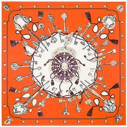 d148336dd0292 Designer scarfS 100cm 100cm Twill Silk Women 100% Silk Square Vintage Metal  Key Chain Print Scarf Femal High Quality Retro Brand H Shawl