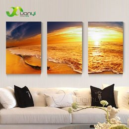 Art Canvas Prints Australia - 3 Panel Sunset Seascape Oil Canvas Painting Beach Cuadros Wall Art Picture For Living Rooom Modern Print Unframed PR1285