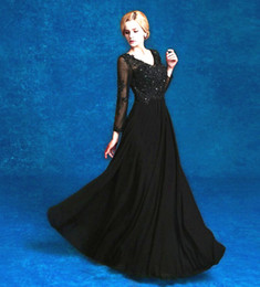 $enCountryForm.capitalKeyWord Canada - Hot Selling Long Black Mother of the Bride Dresses Long Sleeve V Neck Beaded Lace Chiffon Floor Length Women Formal Gowns Custom Made