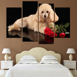 Dog Picture Frames Canada - 4panel Modern Canvas Lovely Dog Oil Painting On Wall Pictures For Living Room Decor Animals Paintings(No Frame)
