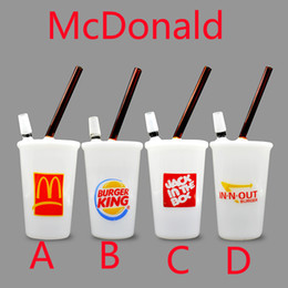 Mcdonald pipe online shopping - White jade McDonald Cup Glass smoking pipes Galss bongs Glass Bong Oil Rig also offer egg bongs tree cup