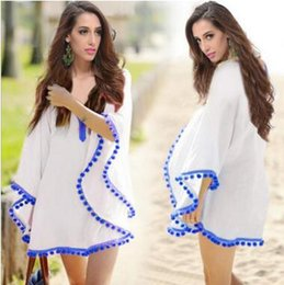 Bikini En Bonnet Blanc Pas Cher-Fashion Beach Covers Chiffon Dress 2016 Summer Beach Dress Tassel Chiffon Beach Cover ups Bikini Maillot de bain Coverup Bleu et Blanc 0239