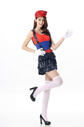 Sexy Games Playing NZ - Adult Women Sequin Mario Costumes 2017 Halloween Costume Cosplay Roleplay Stage Party Role Playing Mary Game Uniforms Sexy Cos