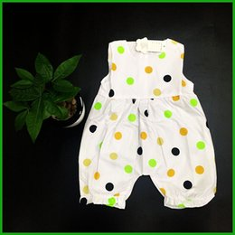 one piece jumpsuits shipping NZ - beautiful dot baby girls jumpsuits sleeveless square neck half pants children one-piece clothing outfits factory cheap price free shipping