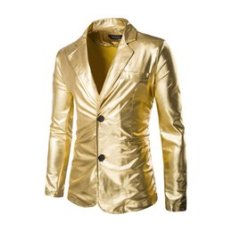 China Wholesale-Men Suit Small Hot Stamping Shiny Costumes Suit The Man A Grain Of Buckle Dress Man Blazer Casual Suit Jacket Blazer Masculino supplier dress stamps suppliers