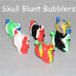 Skull Water Bongs NZ - 2017 Skull shape Silicone Travel Bongs Martian skull silicone Blunt Bong Bubbler Joint Smoking Bubble Small Water Pipes Small Hand Pipe