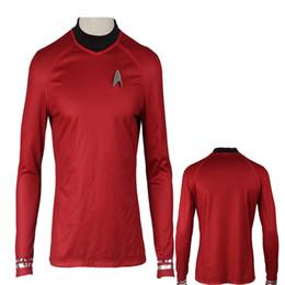Star Trek Movie Costumes Canada - High Quality Customized Apparel COS Star Trek Into Darkness Star Fleet Tunic Shirt Red Costume Cosplay