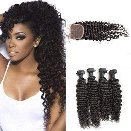 Peerless virgin hair online shopping - 4 bundles Peerless Peruvian Virgin Hair Deep Wave With Lace Closure Human Hair bundles With Closure soft G EASY