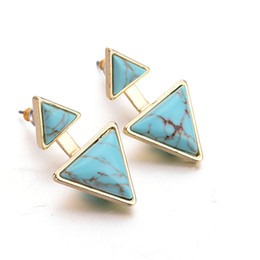 $enCountryForm.capitalKeyWord NZ - New Fashion Gold Plated White Turquoise Geometric Triangle Stud Earrings For Women Fine Jewelry bijoux brincos Wholesale 8598