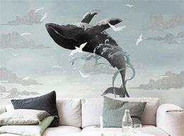 $enCountryForm.capitalKeyWord Australia - Painting Sky Whale Mural Wall Paper 3d Photo Murals Animal for Living Room TV Background Cetacean Vinyl Wallpapers Wall Decor