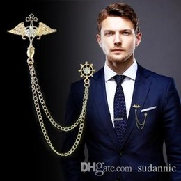 $enCountryForm.capitalKeyWord Canada - 2017 Promotion Limited Broche Brooches Korean Men's Suits Brooms Angel Wings Tassel Chain Cardigan Shirt Collar Buckle Needle
