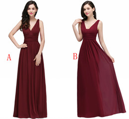 China Under $35 Chiffon Bridesmaid Dresses Cheap Burgundy Pleats A Line Bridesmaid Gowns Flow Wedding Guest Dresses Robe Real Photo Stock cheap flowing dresses train suppliers