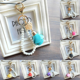 Woman Keychain Leather Canada - Wholesale Pearl Leather Rose Flower Key Ring Creative Gift Bag Backpack Phone Best Gift jewelry For Women Fashion Keychain B798Q