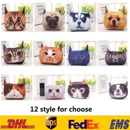 Dog Zipper Australia - 3D Mini Kitten Cat Dog Head Coin Purse Cartoon Character Animal Zipper Change Womens Girls Handbag Case XMAS Pendant Key Rings Gifts HH-B07