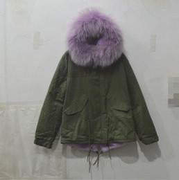 Wholesale Long Parka Canada - Purple real fur collar coat,wholesale ladies winter Military green coat jacket,purple fur inner short parka