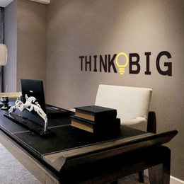 Wholesale  Vinyl Quotes Wall Stickers THINK BIG Removable Decorative Decals  For Office Decor Wall Sticker