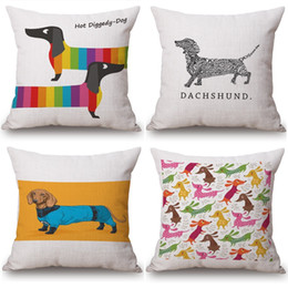 Chinese  Sausage Dog Dachshund LOVE HEART cushion covers Candy Color Watercolor Birds pillow covers Linen Cotton Sofa Chair decoration manufacturers