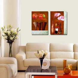 $enCountryForm.capitalKeyWord Australia - 2 pcs Unframed Tulip Calla Canvas Painting Colorful Abstract Flower Wall Painting Drawing Room Bedroom Printed Art Picture Home Decor
